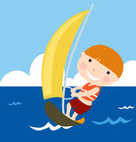 Boy sailing in holiday Stock Photo
