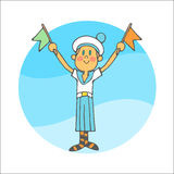 Boy in a sailor form waves flags Royalty Free Stock Images