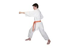 Boy with salmon belt. Practicing Karate. White background Royalty Free Stock Photos