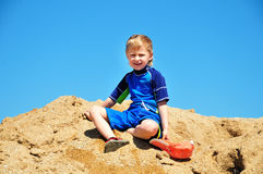 Boy in sand Royalty Free Stock Photos