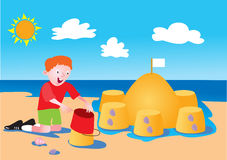 Boy and sandcastle. A cartoon boy building a sandcastle on the beach Stock Images