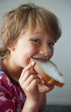 Boy with sandwich Stock Photo
