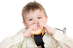 Boy with sandwich Royalty Free Stock Images