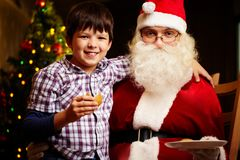 Boy and Santa Royalty Free Stock Image