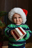 Boy in santa cap Stock Photo