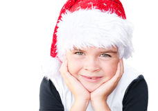 Boy in a Santa Claus hat. Smiling child wearing Santa Claus hat Royalty Free Stock Photography