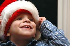Boy in Santa hat stock photos