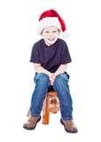 Boy in santa hat Stock Photo