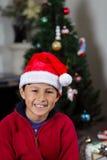 Boy with Santa Hat Stock Photo