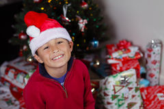 Boy with Santa Hat Stock Images