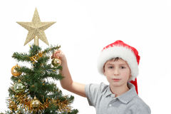 Boy with santa hat decorates the Christmas tree Stock Image