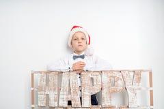Boy santa hat stock photos