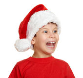 Boy in santa helper hat portrait - winter holiday christmas concept Stock Images