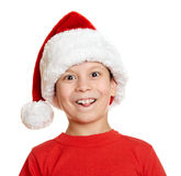 Boy in santa helper hat portrait - winter holiday christmas concept Stock Photo