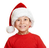 Boy in santa helper hat portrait - winter holiday christmas concept Stock Photos