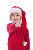 Boy Santa pointing royalty free stock photos