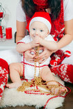 Boy In Santa's Cap Stock Photos