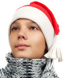 Boy with Santa's hat Royalty Free Stock Images