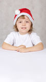 Boy in Santas hat Royalty Free Stock Photo