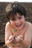 The boy with sapling Stock Photos