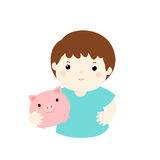 Boy save money in piggy bank  Stock Photography
