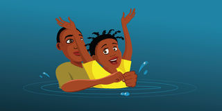 Boy saving a drowning victim Stock Photo