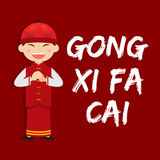 Boy Saying Gong Xi Fa Cai Royalty Free Stock Images