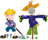 Boy and scarecrow. Vector illustration of the boy and scarecrow Stock Images