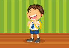 Boy with school bag Stock Images