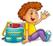 A boy with school bag. Illustration of a boy with school bag on a white background Royalty Free Stock Image