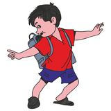 Boy with school bag. Going to school Stock Photo