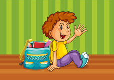 A boy with school bag. Illustration of a boy with school bag in the room Stock Photo