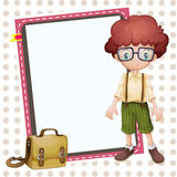 Boy, school bag and white board. Illustration of a boy, a school bag and a white board Royalty Free Stock Photo