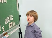 The boy at a school board Royalty Free Stock Image