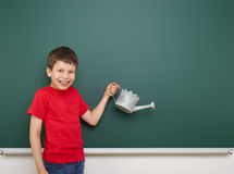 Boy and the school board Stock Photos