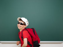 Boy and the school board Stock Photo