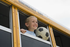 Boy On School Bus Stock Photos