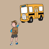 Boy school bus Stock Images