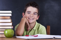 Boy in school desk Royalty Free Stock Photo
