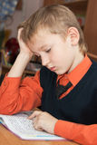 Boy at school at a lesson Royalty Free Stock Photo