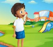 A boy at the school playground Stock Photos