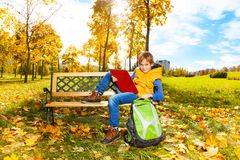 Boy after school Stock Images