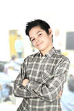 Boy at school. Proud of the boy study in school Royalty Free Stock Images