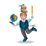 Boy and school subjects. Vector illustration of happy schoolboy with a backpack and education tool set on white  background Royalty Free Stock Photo
