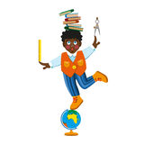Boy and school subjects. Vector illustration of happy schoolboy with a backpack and education tool set on white isolated background Royalty Free Stock Photo