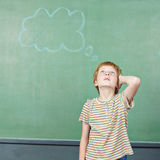 Boy in school thinking with thought Royalty Free Stock Image