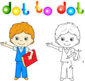 Boy in school uniform with red book. Educational game for kids. Boy in school uniform with red book. Connect dots and get image. Educational game for kids Stock Photos