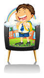Boy in school uniform on TV Royalty Free Stock Image