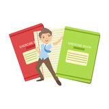 Boy In School Uniform With Two Giant Notebooks Stock Images