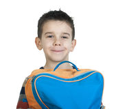 Boy with schoolbag Stock Photos